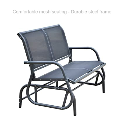 Outdoor Patio 2 Person Double Rocker Glider Bench Comfortable Soothing  Backrest Seat Deck Beach Chair #