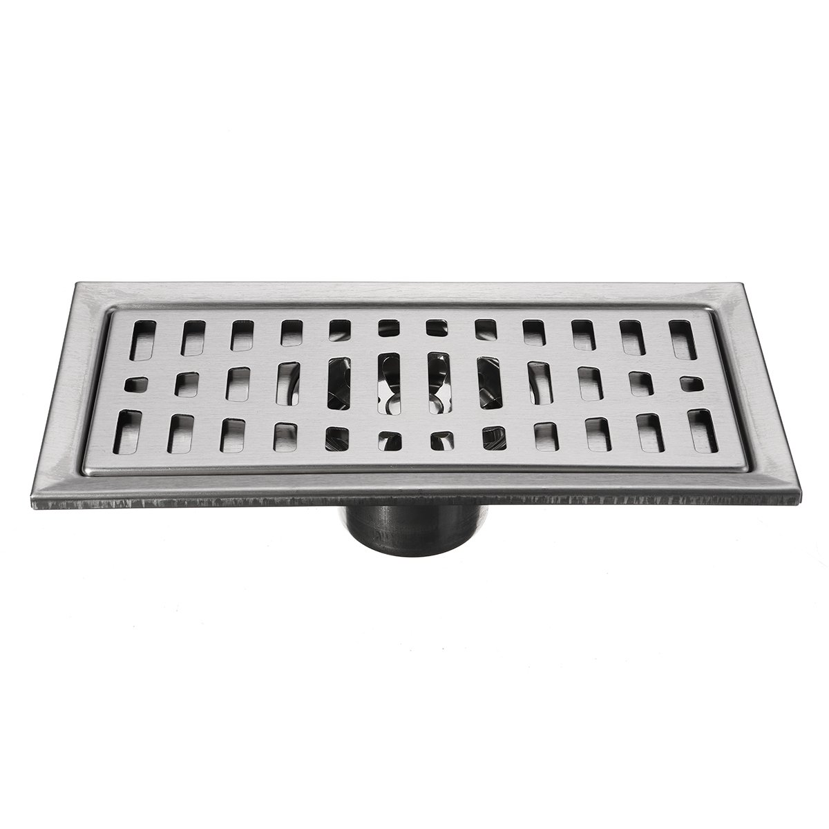 dDanke Stainless Steel Rectangular Bathroom Floor Drain Strainer with Removable Cover Drain Grate 20*10cm