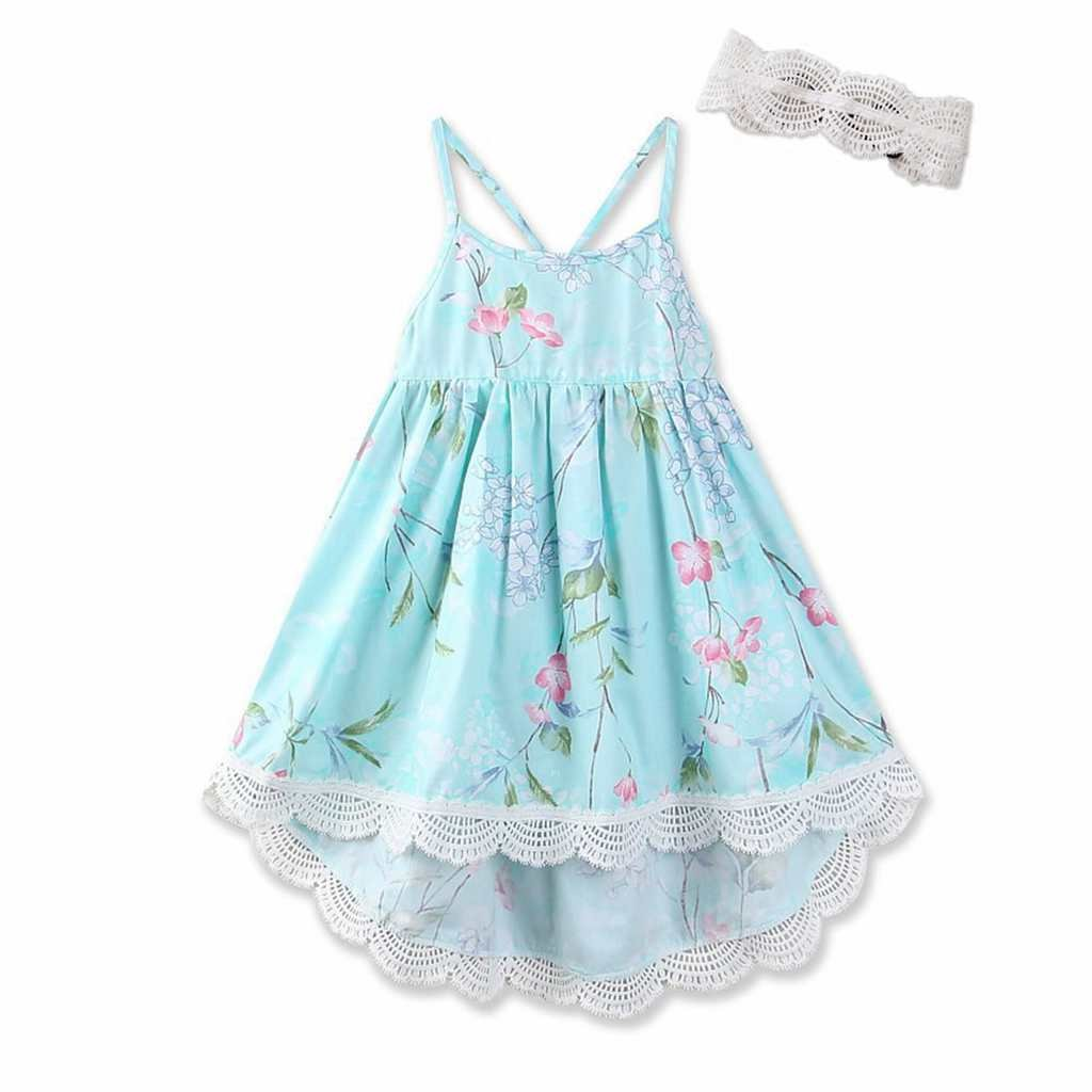 Tonwod Little Girl Dress, Sleeveless Cotton Casual Summer Floral Sundress