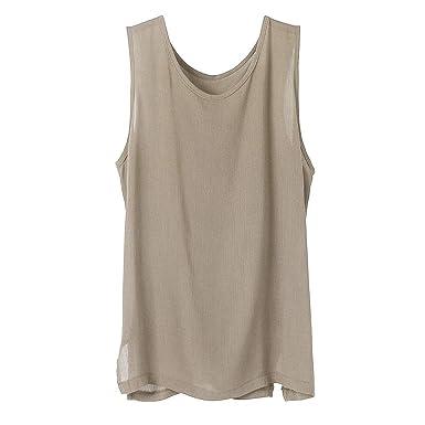 Hanomes - Camiseta de Tirantes para Hombre, de Lino, para ...