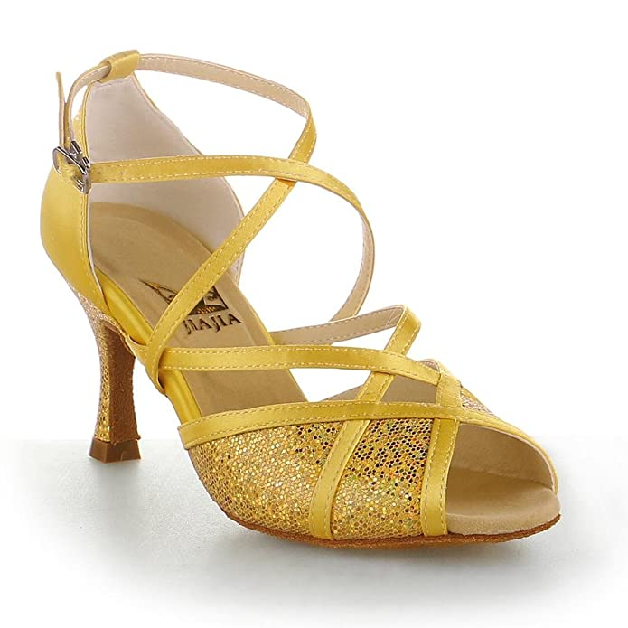 Jia Jia Y20514 Damen Sandalen Ausgestelltes Heel Super-Satin Latein Tanzschuhe Gold  36