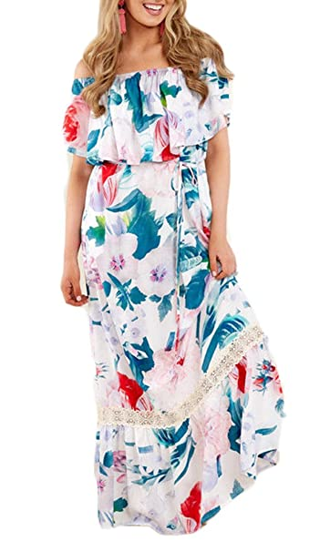 7deadaccd4 Womens Boho Long Maxi Dress Summer Beach Evening Cocktail Party Floral  Sundress at Amazon Women s Clothing store