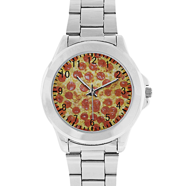 Pizza Pattern Unisex Stainless Steel Wrist Watch