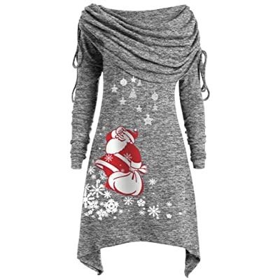 FEDULK Womens Christmas Blouse Tops Ruched Foldover Collar Santa Claus Print Tunics Plus Size S-5XL at Women's Clothing store