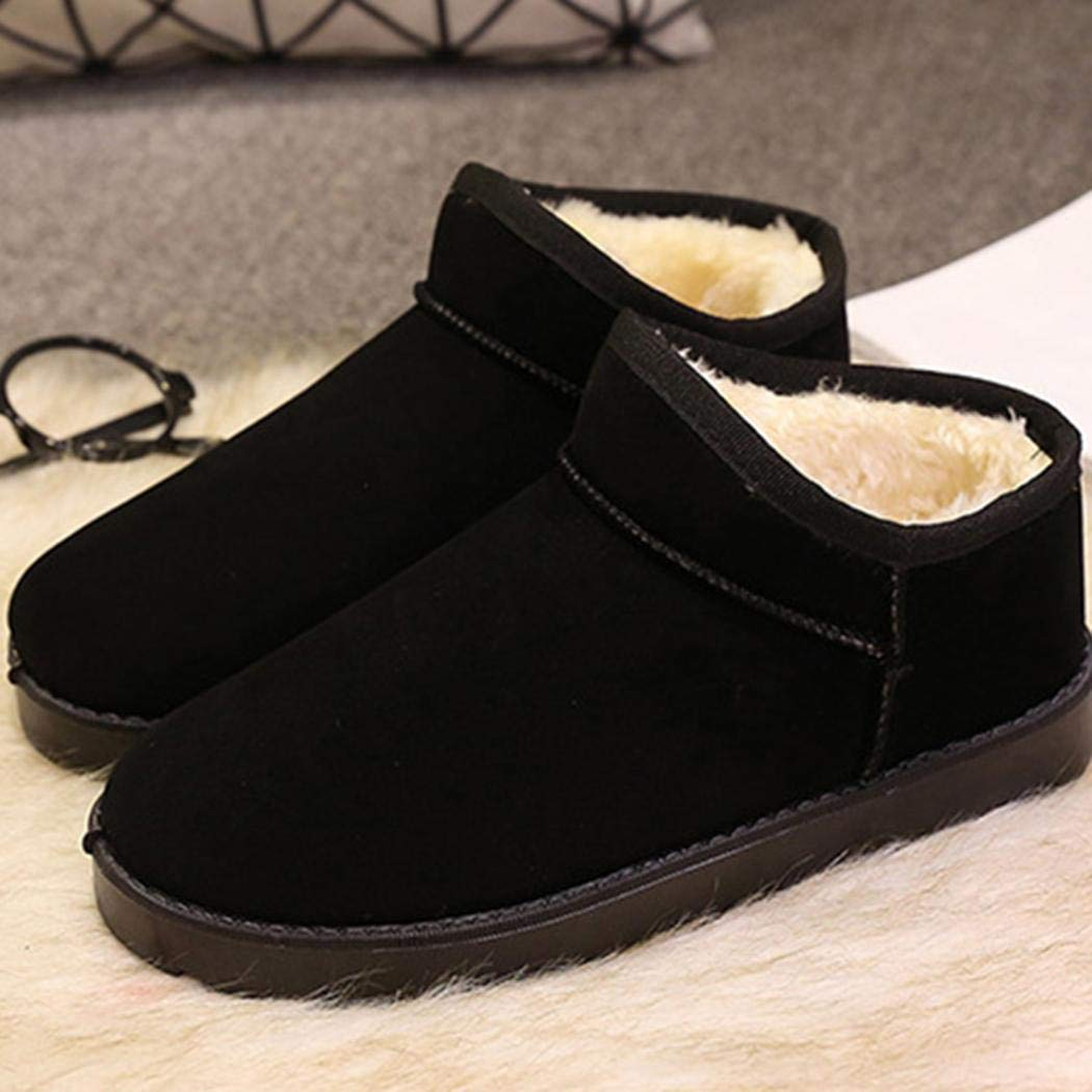 ODlover Women Winter Casual Ankle Slip On Solid Flats Cotton Fleece Shor Snow Boots