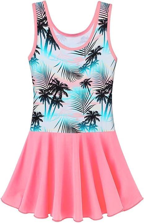 BAOHULU Toddler Girls Swimsuit One Piece Cute Floral Dress Swimwear 3-8 Years