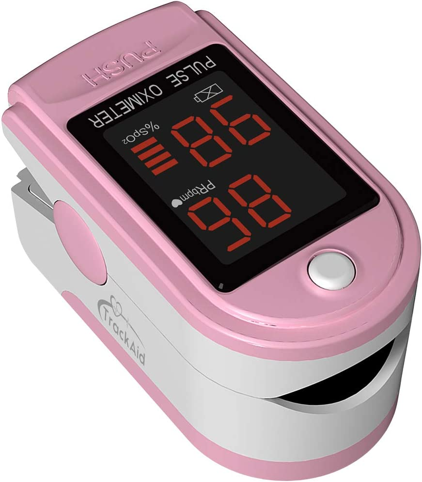 TrackAid Pulse Oximeter Portable Finger Oxygen Saturation and Pulse Rate Monitor Pink
