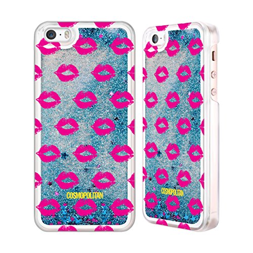 Official Cosmopolitan Pink Kiss Mark Sky Blue Liquid Glitter Case Cover for Apple iPhone 5 / 5s / SE