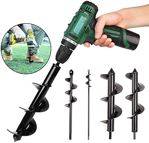 Seedlings Ground Hexagonal Drill Bit Alloy Short Rod Plant Twist Drill. 3.1x 11.8 Bulb Auger Drill Bit 4x22 DEALYU Garden Planter Tool Black