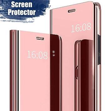 MadBee Funda Xiaomi Redmi 4X [Protector Pantalla], Fundas de Espejo Elegante Brillante Standing Flip Carcasa Cover Carcasa Funda Case para Xiaomi ...