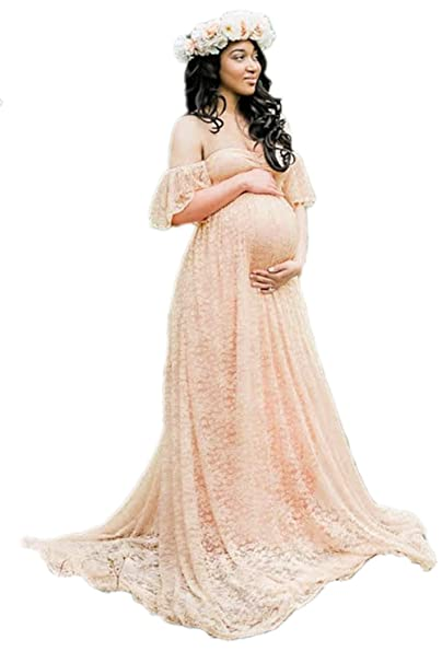 Lettre Damour Women Off The Shoulder Lace Maternity Bridal Gowns Wedding Dress Apricot XS