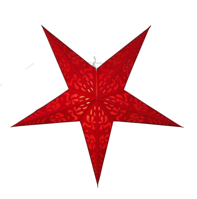 ***BEAUTIFUL - STAR - LIGHT - schöner leuchtender Stern - 60 cm breit - 5-Zackig - perfekt für das Fenster und die Dekoration - Stern inklusive 500 cm Elektrokabel mit Standard - E 14 -Fassung mit Ein-Aus-Schalter (ROT)*** KAMACA-SHOP