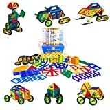 Buzz and Heidi Magnetic Tile Set with Wheels and Skis