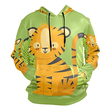 32b5a095a Image Unavailable. Image not available for. Color: Forest Kawaii Tiger  Hoodie ...