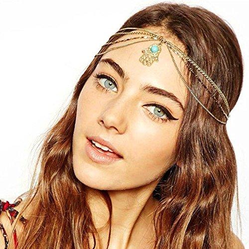 Mokingtop Fashion Metal Head Chain Jewelry Chain Headband Head Piece Hair Band