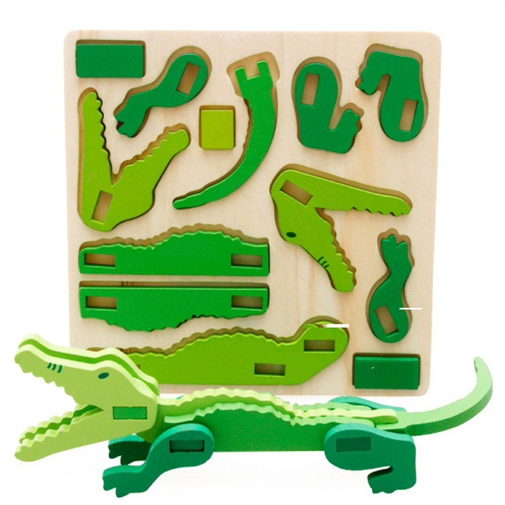 GreatFun Montessori Mini 3D Puzzle Toy Kids Educational Fun Toy Wooden Colorful Jigsaw Gift (Crocodile)