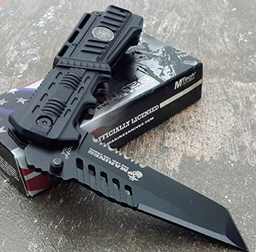 U.S. MARINES Knife Licensed USMC MARINES Assisted Military Knives BLACK Tactical Tanto Knife
