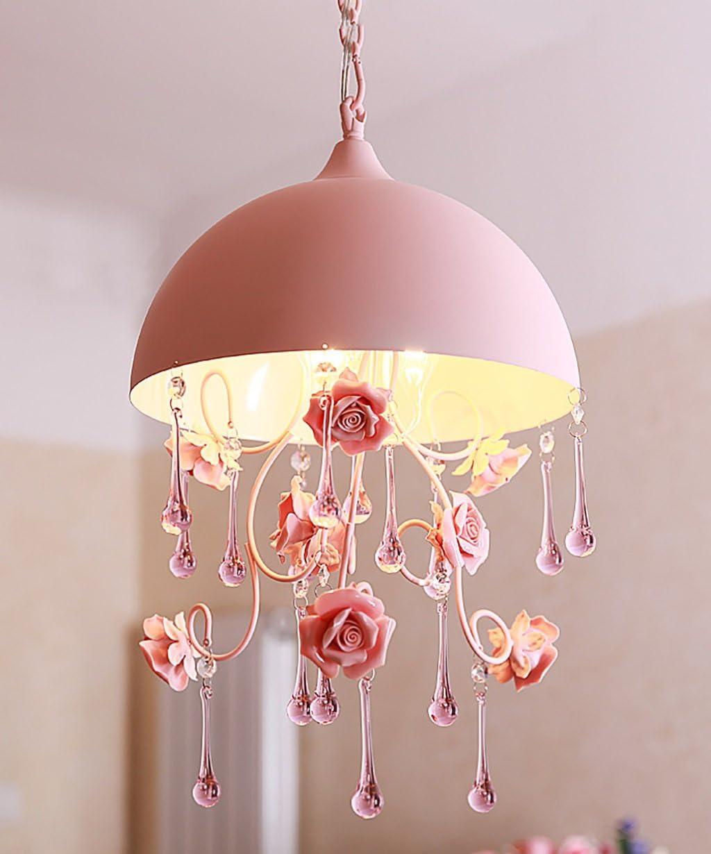 Creativa cabeza de hierro tercera cabeza de estudio de sala de luces de techo de la lámpara Habitación Sala escaleras hijos luces decorativas rosa (Color : A)