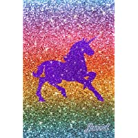 Journal: Faux rainbow glitter purple sparkles unicorn notebook