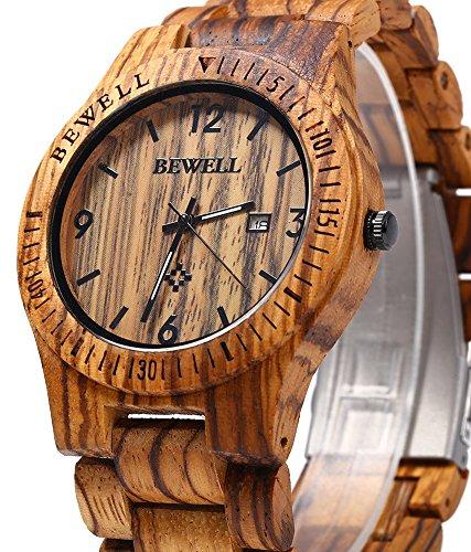 Bewell ZS-W086B Mens Wooden Watch Analog Quartz Movement Date Display Lightweight Wood Wrist Watch (Zebra Wood)