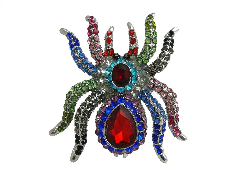 TTjewelry Classic Vintage Spider Brooch Pin Rhinestone Crystal Halloween Jewelry