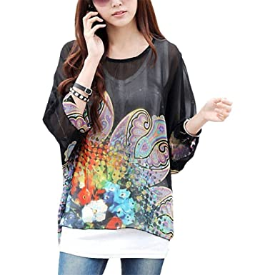 09fc11c6a0e4f BienBien Womens Floral Batwing Sleeve Loose Chiffon Blouse Tunic Top Beach  Cover Up
