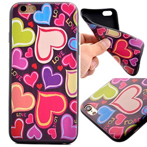 Uming® M colorida impresión de patrones de dibujo de la cubierta del caso de TPU suave Case Cover [ Striped Urban Landscape | para IPhone 6 6S IPhone6S IPhone6 ] caja del teléfono móvil Mobile Shell p Colorful Hearts