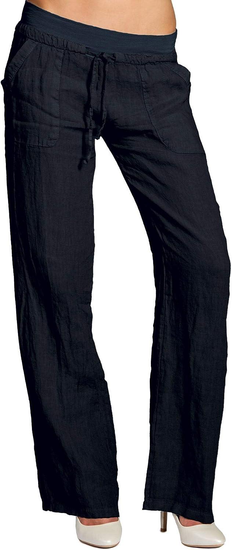 Caspar KHS025 Pantalones Largos de Lino para Mujer Casual Verano