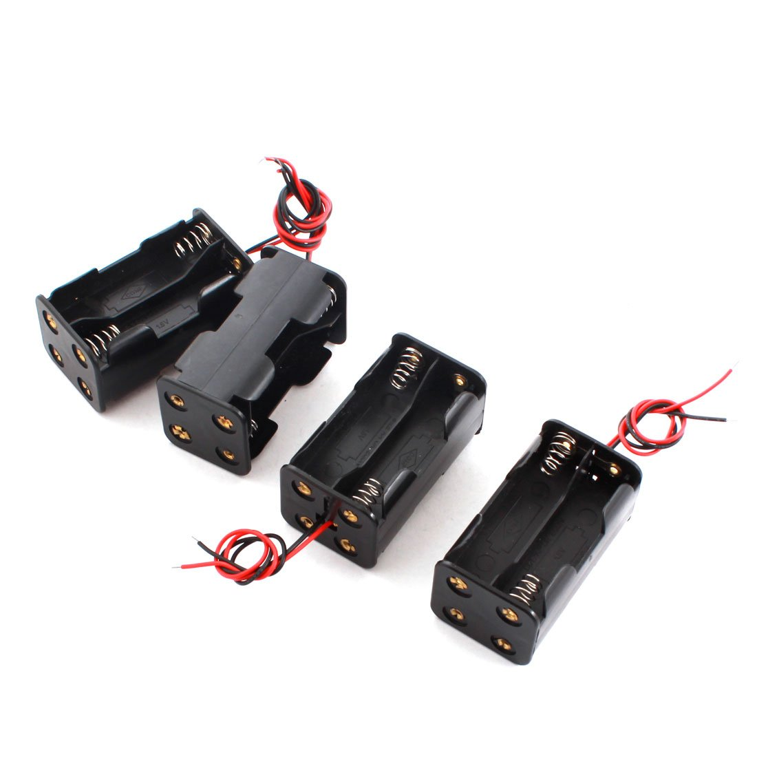 uxcell 4pcs DIY Double Sides 4 x AA Battery Case Holder Box Container a14091900ux0487