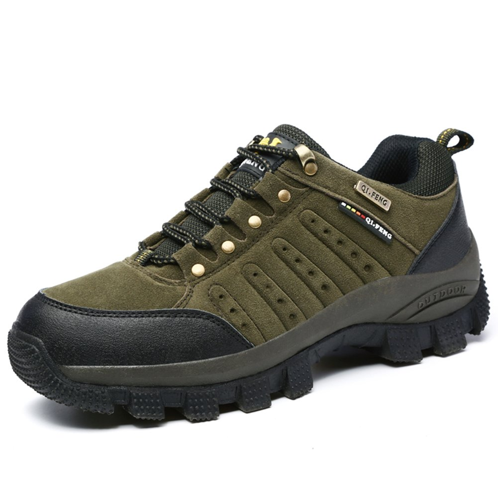 ZHJLUT Unisex Couple Men's Women's Outdoor Sports Casual Suede Leather Lace-up Shoe Hiking Shoes Backpacking Boot Dark Green Label Size 46-Women US11.5-Men US10