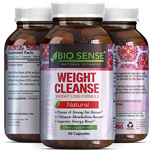 Tri-Blend Weight Loss Supplement with Pure Garcinia Cambogia HCA, Green Coffee Bean and Raspberry Ketones Complex Best Fat Burner Natural Diet Pills for Men and Women 60 Capsules by Bio Sense by Bio Sense