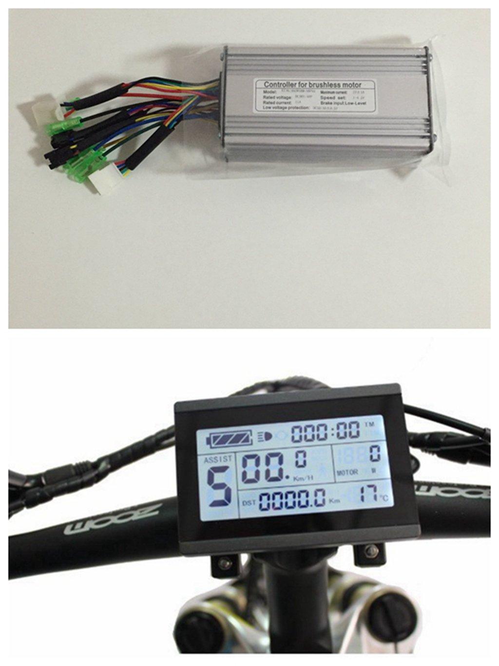 NBPower Juego de controlador de motor sin escobillas para bicicleta, 36 V/48 V, 500 W, 22 A, CC + KT-LCD3, se utiliza para kit de bicicleta de 500 W. niubo power