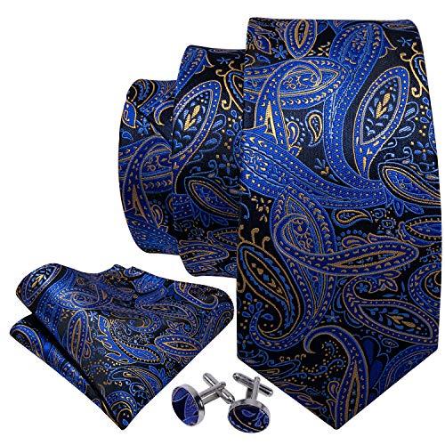 Barry.Wang Men Tie Set Solid Silk Blue Paisley Necktie Pocket Square Cufflinks Extra Long Tie