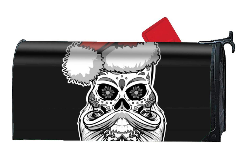 FunnyLife Sugar Skull Santa Christmas Custom Magnetic Mailbox Cover - Mailbox Makeover for Garden Decor