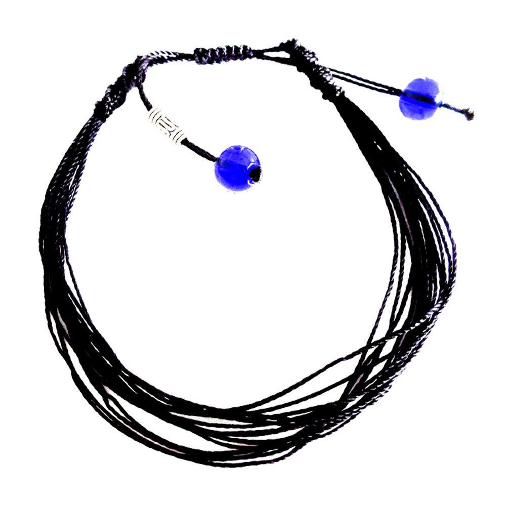 Surfing string Friendship bracelet medium 6.5-8.5 inches black macrame with sea glass beads adjustable knots Unisex BFF couples Beach Surf Valentines gift under $10