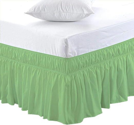Amazon.com: Elastic Wrap Around Ruffle Bed Skirt Wrap Bed Skirts