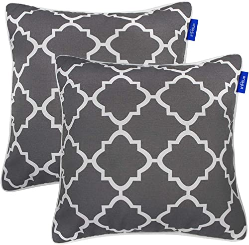 SleepMan Set of 2 Patio Outdoor Decorative Throw Pillow Square Cushion with Insert 18 x 18 Gray Plaid