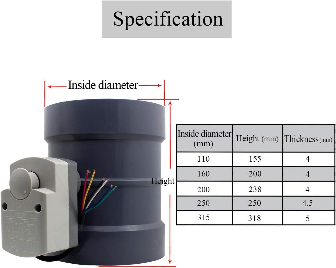 H/öhe 190mm + Au/ßendurchmesser 200mm 1 St/ück 220v HVAC absperrklappe elektrisch drosselklappe l/üftung l/üftungsklappe elektrisch Durchmesser 80 100 125 150 200 250 300 250 400 mm