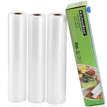 KitchenBoss Bolsas de Vacío 3 Rolls 28x500cm con Caja de Corte (No Más Tijeras) para Almacenaje de Alimentos,Sous Vide Cocina, Aprobación de la FDA y ...