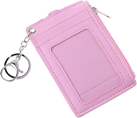 Doober Keychain Portable Leather Business ID Card Credit Badge Holder Coin Purse Wallet Keychain