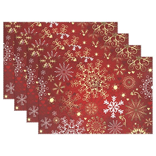 Naanle Christmas Holiday Placemats Set of 4, Christmas Red Gold Snowflake Non Slip Heat-Resistant Washable Table Place Mats for Kitchen Dining Table Home Decoration, 12