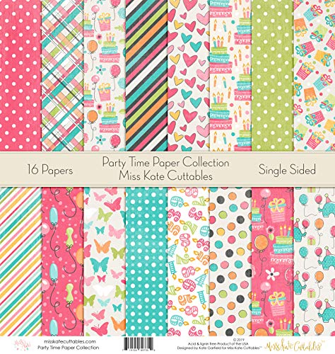 Party Time - Die Cuts & Paper Set - by Miss Kate Cuttables - 16 Sheets of 12