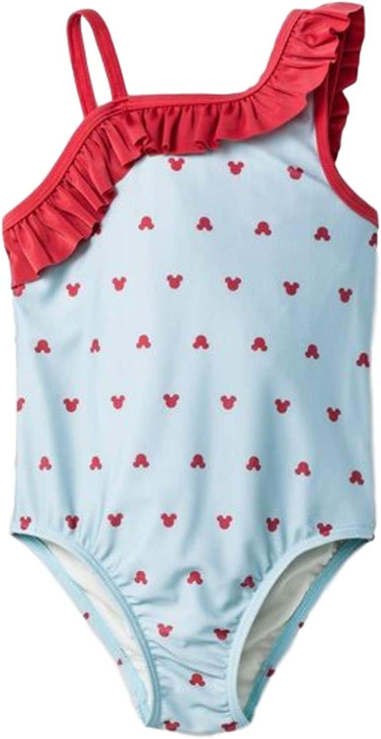 Junk Food Girls' Disney Mickey Mouse Ruffle One Piece Swimsuit