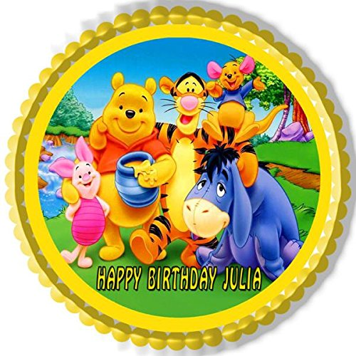 Winnie Pooh 1 Edible Birthday Cake OR Cupcake Topper 10 Round Inches