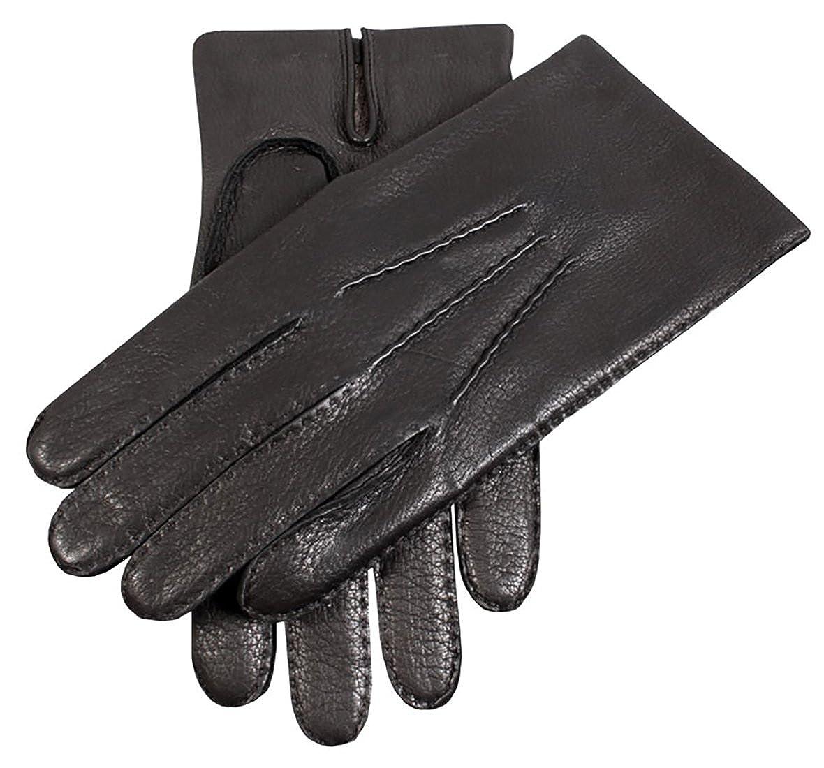 Black Dents Mens Handsewn Cashmere Lined Leather Gloves