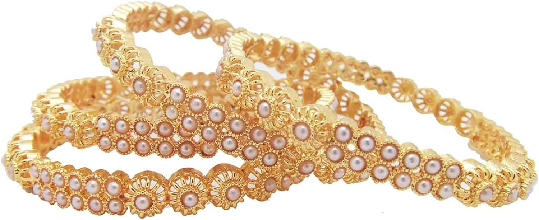 Biyu Bridal Collection White Pearl Gumbaj Gold Plated 4pc Bangle 00114-NLW