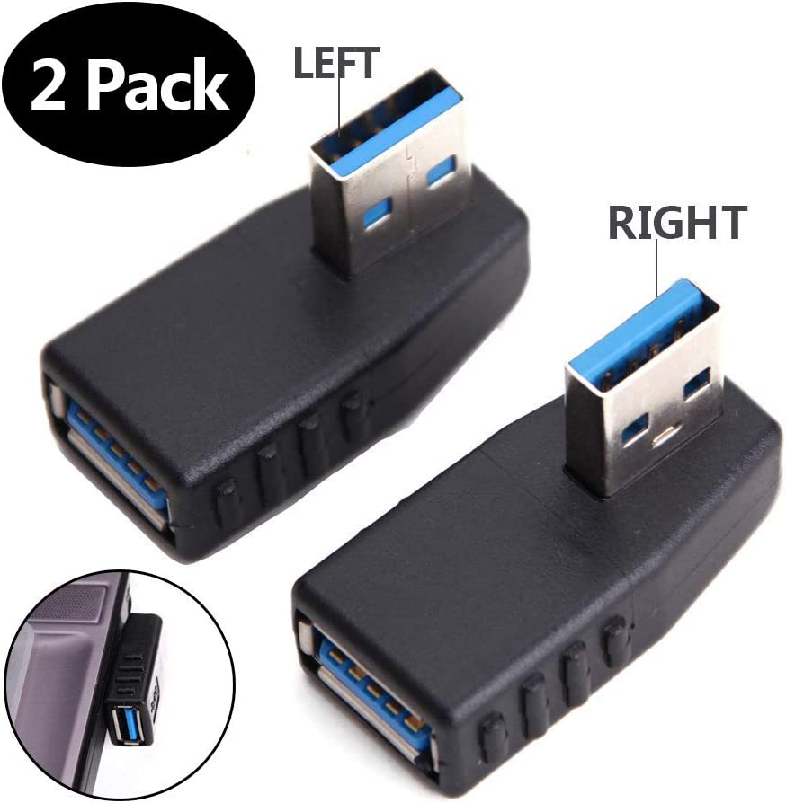 USB 3.0 Male to Female 90° Adapter Connector Plug Left Angle and Right Angle