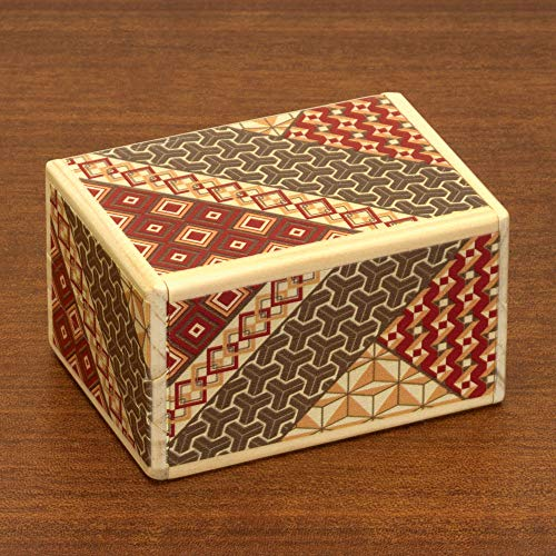 Bits and Pieces - Detailed Mosaic Secret Box - Size Medium, 7 Step Solution - Wooden Brainteaser - Secret Compartment Brain Game for Adults