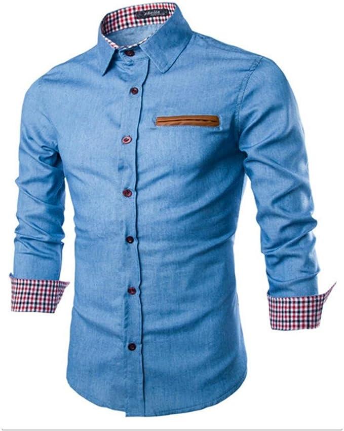 JA Bolsillo Casual de Cuero para Hombre Camisa Delgada de Mezclilla de Manga Larga para Hombre Top Azul Claro 3XL: Amazon.es: Ropa y accesorios