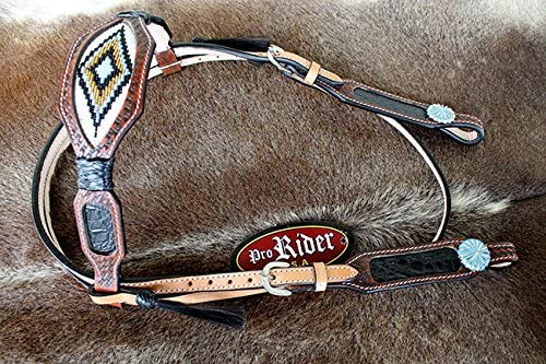 CHALLENGER Horse Bridle Western Leather Headstall Breast Collar Tack Beaded Purple BRN 7913